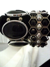 Lot of 2  chunky stretch bracelets silver tone metal with black inserts