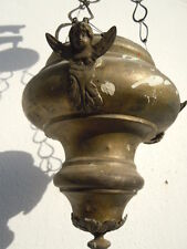 Lampe sanctuaire décor anges lustre veilleuse bronze votive église 18ème