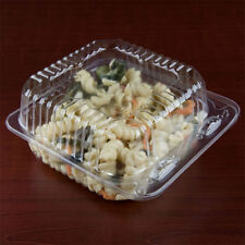 "5"" x 5"" x 3"" Clear Hinged Lid Plastic Container 500/Cs"