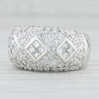 1.50ctw Diamond Pave Ring 18k White Gold Size 7.75 Cocktail Band