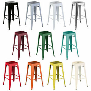 SET 4/2 STACKABLE TOLIX STYLE RUSTIC METAL VINTAGE PUB BAR STOOL KITCHEN DINING
