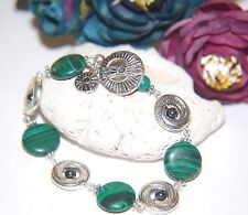 Natural Green Striped MALACHITE & Hematite Gemstone Coin Silver Bracelet