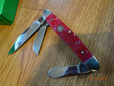 "HEN & ROOSTER 4"" CLOSED RED PICK BONE 3 BLADE STOCKMAN POCKET KNIFE HAND MADE GE"