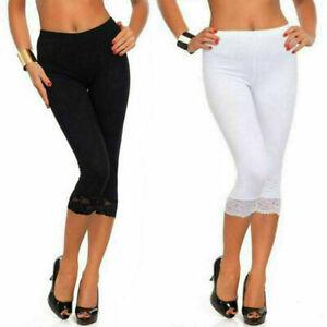 Women's Leggings Stretchy Cotton 3/4 Cropped Pants Capri Ultra Soft Lace Trim UK