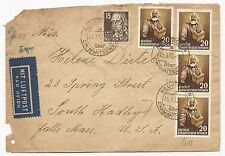 Germany DDR Scott #126 #141 x4 #125 #132 on Cover Air Mail to USA 1953