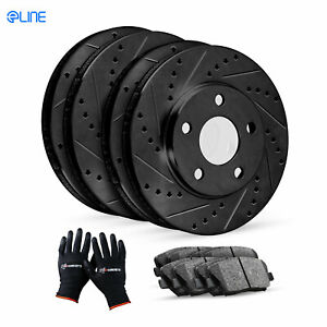For Mercedes-Benz E350 Front Rear Black Drill Slot Brake Rotors+Ceramic Pads