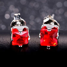 5mm Square Cubic Zirconia Red Ruby CZ White Gold Plated Stud Earrings Xmas Gift