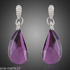 White Gold Plated Purple Stellux Austrian Crystal Drop Women's Earrings