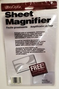 "Ultra-Optix Magnifier Sheet 2X Magnification 7-1/4"" x 10-1/4"" Lens UltraOptix"