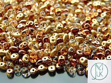 20g Czech SuperDuo Twin Beads Gold Mix