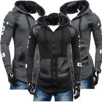 Men Zip Up Leather Hoodie Hoody Jacket Sweatshirt Casual Gym Hooded Coat Tops US