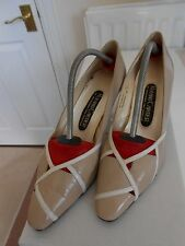 Roland Cartier Beige and Cream Mid Heel Leather Court Shoes Size 4 1/2