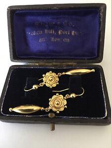 Victorian stunning 18ct. gold drop earrings circa1890, high quality, NOT 4 GRAMS