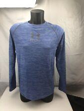 Under Armour Mens Sz M Heat Gear Run Long Sleeve Shirt Regular Fit Heather Blue