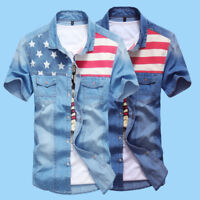 Men's Denim Shirt Slim Casual Shirts Button Short Sleeve Wash Jeans Dress Shirts
