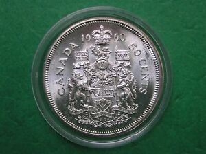 1960 Canada 50 cent half dollar in capsule FREE SHIPPING