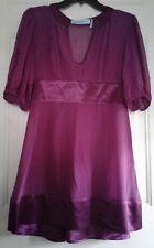 Guess by Marciano Womens Medium 2 Piece Dress Purple 100% Silk Short Sleeves