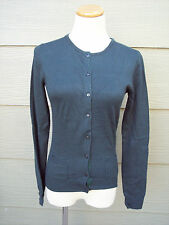 Cote Femme Woman Cardigan Sweater Sz 2 4 S 32B Solid Green Angora Rayon