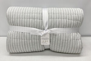Pottery Barn Ultra Soft Handcrafted Tencel™/Cotton Reversible F/Q Quilt~Ash Gray