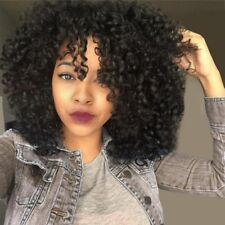 Medium See-through Bang Shaggy Afro Curly Synthetic Wig - Jet Black 1#