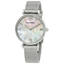 Emporio Armani AR1955 Ladies Stainless Steel Mesh Silver Watch - 2 Year Warranty