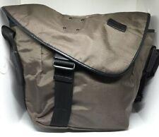 Property of... brown fabric black leather trim messenger bag (Sz L)
