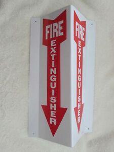 "NEW (1-SIGN) 4 X 12 (3-D) RIGID PLASTIC ANGLE ""FIRE EXTINGUISHER ARROW"" SIGN"