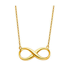 """14K Solid Yellow Gold Infinity Necklace - 17+1"""""""