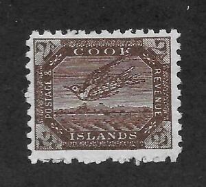COOK ISLANDS;1902; WRYBILL BIRD; 2d; CHOCOLATE, Perf.11; MH .Scott # 33