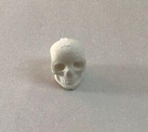 Dolls House Halloween. Skull. White / Silver Handmade. 12th Scale. New.