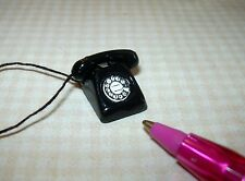 Miniature Economical Black Metal Phone, Loose Receiver: DOLLHOUSE 1/12 Scale