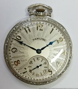 Incredible Hamilton 912 14k White Gold Filled 12s Running Art Deco Pocket Watch