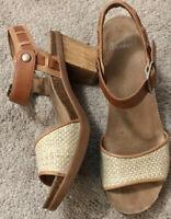 Dansko Open Toe Buckle Brown Mary Jane Platform Comfort Sandals Size 41 US 10