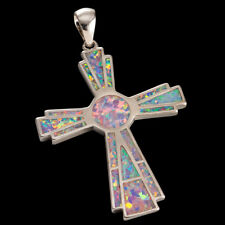 Large Celtic Cross Lavender Purple Fire Opal Silver Jewelry Necklace Pendant