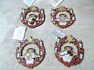 (4) CHRISTMAS WREATHS, MUSICIAN ANGELS..ST. ANDREW'S ABBEY POTTERY