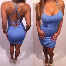 Connie's Super Sexy Semi Sheer Ultimate Backless Blue Tank Dress L