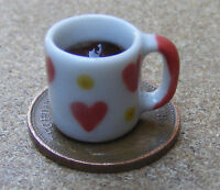 1:12 White Mug With Black Coffee Dolls House Miniature Ceramic Drink Heart Motif
