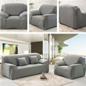 1 2 3 4 Seater Stretch Slipcover Chair Loveseat Sofa Couch Solid Elastic Cover *