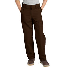 Dickies Boys Brown Pants Flat Front Classic Fit School Uniform Sizes 4 to 20