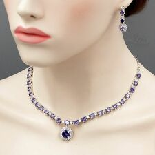 White Gold GP Amethyst Purple Zirconia Necklace Earrings Wedding Jewelry Set 186