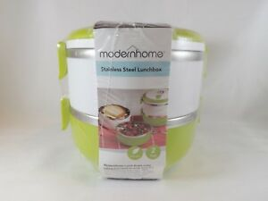 ModernHome 2-Tier Stainless Steel Lunchbox - New - Green & White