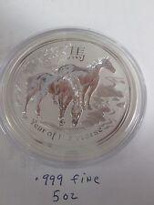 5 oz .999 fine   Silver Lunar Year Horse   2014  Perth Mint Australia BU