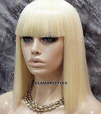 Bob Straight With Bangs Bleach Blonde Full Wig Hair Piece #613 NWT