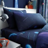 SPACE PLANETS SINGLE FITTED SHEET & PILLOWCASE SET BEDDING CHILDRENS DARK BLUE