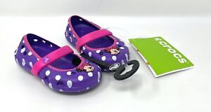 Crocs Disney Keeley Minnie Mouse Flats Toddler Girls Purple Polka Dots-Size 4 C4
