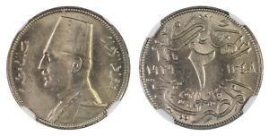 EGYPT , 2 MILLIEMES KING FUAD FOUAD 1929 BP NGC MS 63  , RARE