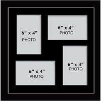 "Large multi picture photo aperture frame fits 4 photos of size 6"" x 4"" inches"