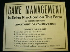 "Vintage GAME MANAGEMENT Sign DNR Michigan Dept Of Conservation 14"" x11""  A6"