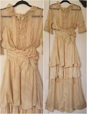 Antique 1910s Vintage Edwardian wedding dress gown fabulous patina excellent con