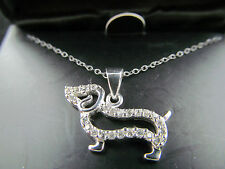 NIB STERLING SILVER & CUBIC ZIRCONIA DACHSHUND PENDANT NECKLACE, Signed